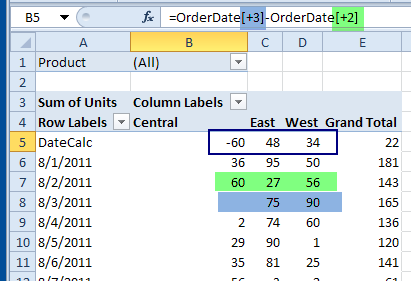 refer to pivot items by their index number, relative to the calculated item