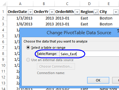 Use dynamic source for pivot table