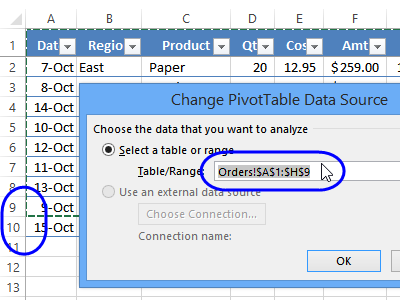 Static Data Source for pivot table