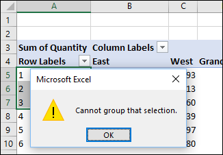 Cannot group that selection