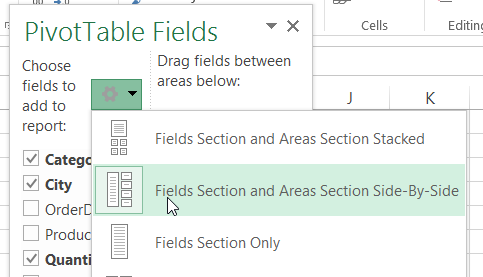 pivot table field list layout