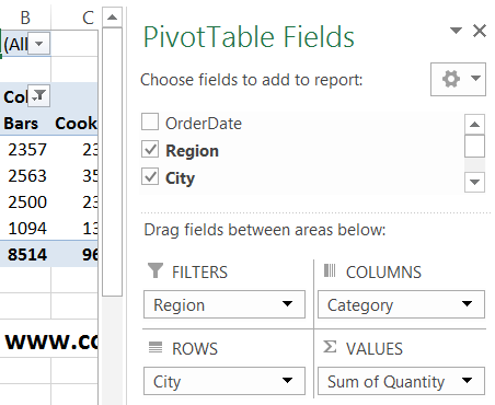 pivot table field list