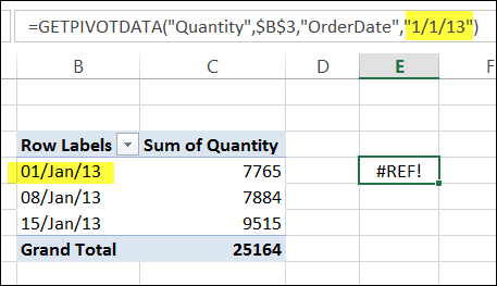 Using Dates in GetPivotData