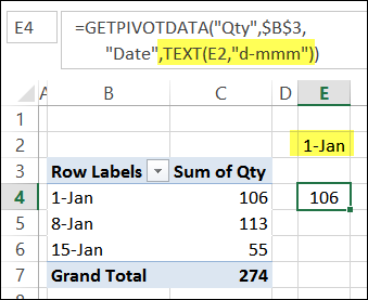 GetPivotDate with TEXT function