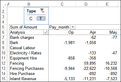 pivot table layout with slicer