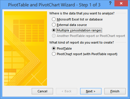 PivotTable and PivotChart Wizard