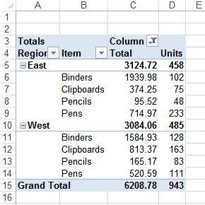 remove values from multiple consolidation pivot table