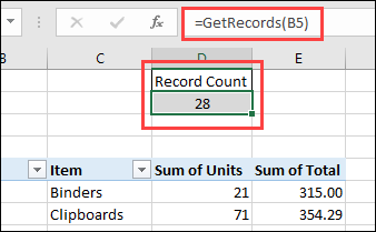 function to show pivot cache record count
