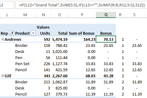 calculate totals in adjacent column