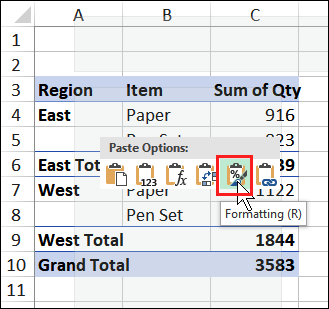 Excel Pivot Table Macro Paste Format Values