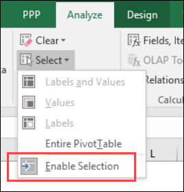 enable selection