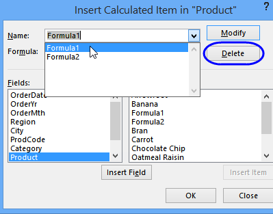 remove calculated item
