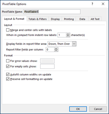 Excel Pivot Table Option Settings