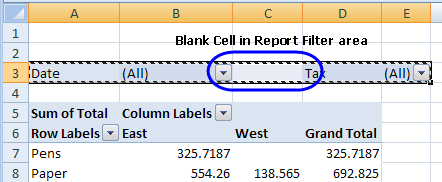 horizontal report filters