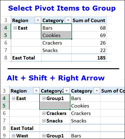 Excel Pivot Table Shortcuts