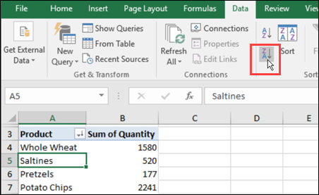 Pivot Table Items