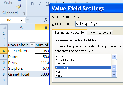change the summary calculation to StdDevp