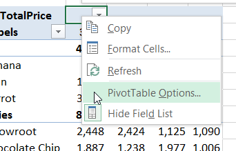 PivotTableOptions in popup menu