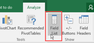 field list command on Analyze tab