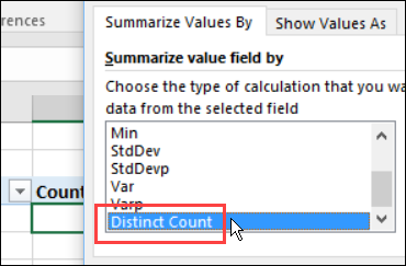 select Distinct Count