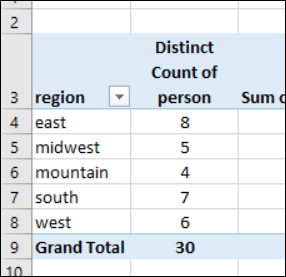 Excel Pivot Tables Count Unique Items