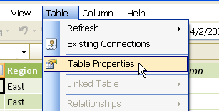 Table Properties