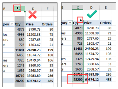 carefully select cells for number formatting