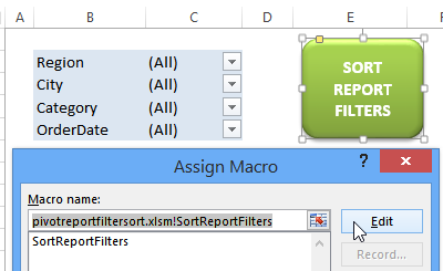 sort report filters macro button