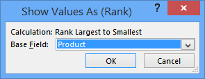 show values as rank