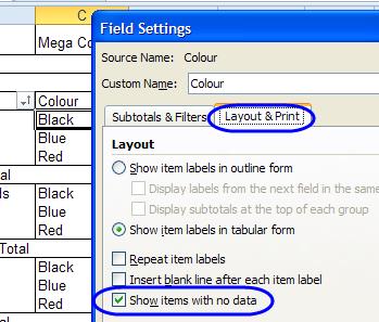 Excel Pivot Table Field Settings