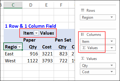 Column field name in Values row