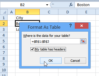 create table with headers