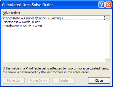 message at the bottom of the Calculated Item Solve Order dialog box