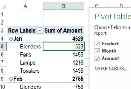 pivot table compact layout