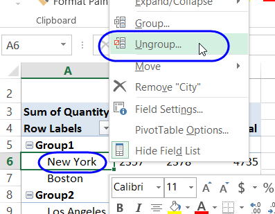 ungroup one group