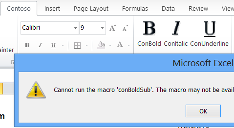 Excel Ribbon error
