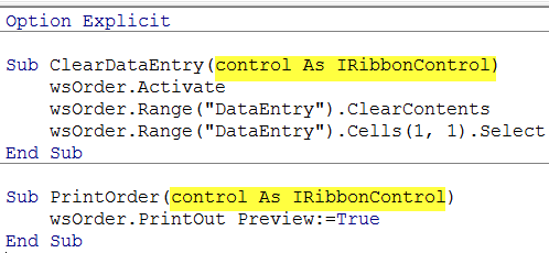 Excel Ribbon macros callbacks