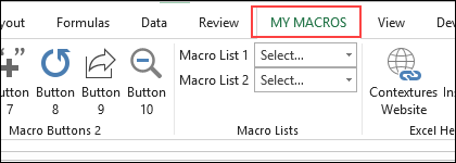 How to put a tick on macros in excel ribbon