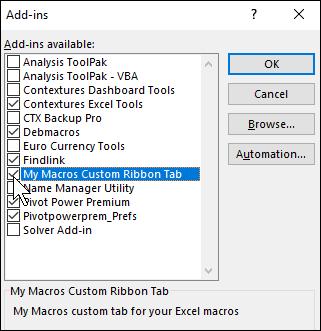 Excel Ribbon Macros Tab