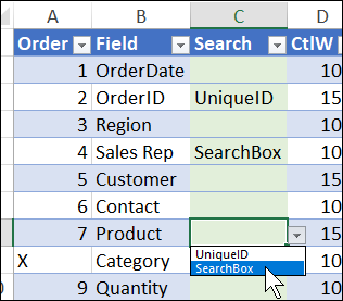 choose unique ID and search box fields