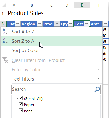 Creating an excel table sort and filter commands ibookread PDF