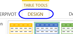 design tab on Ribbon