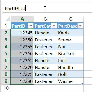 Excel Named Ranges