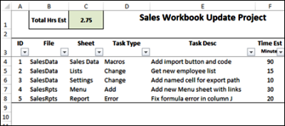 Excel project task tracker