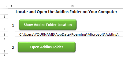 Excel Addin Folder Path file
