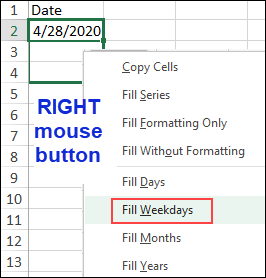 autofill options for right mouse button