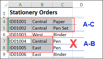 different columns selected causes Excel copy and paste problem