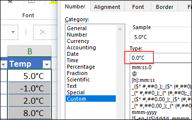 format with degree symbol