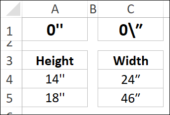 inch marks in custom number format
