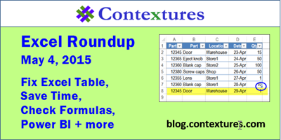 Contextures Excel Roundup Podcast 20150504